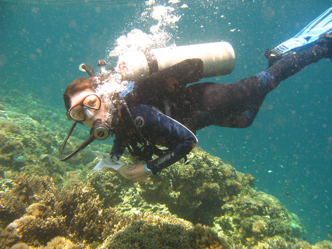 Woman scuba diving over a coral reef