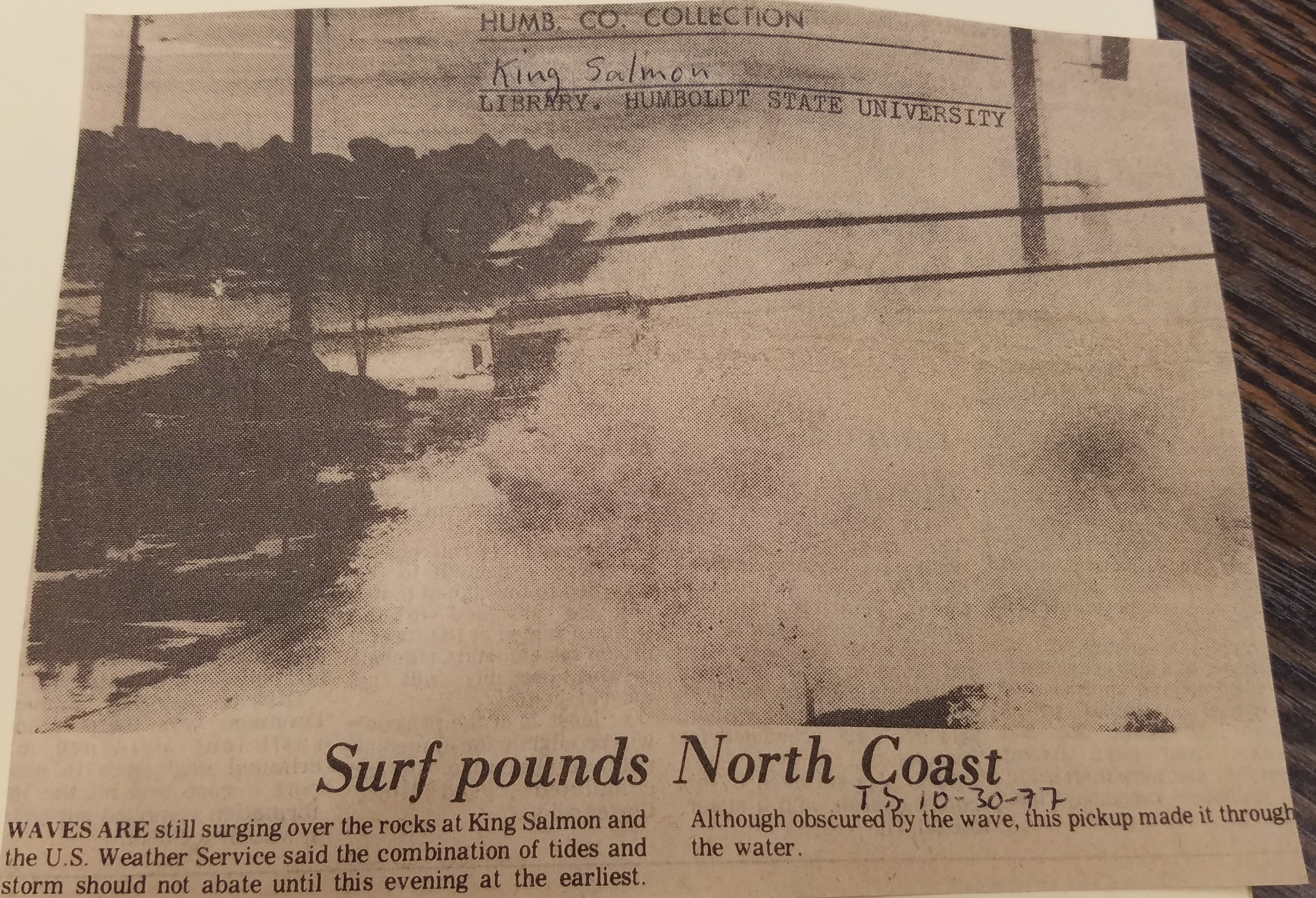 Old newspaper clipping about heavy surf in King Salmon