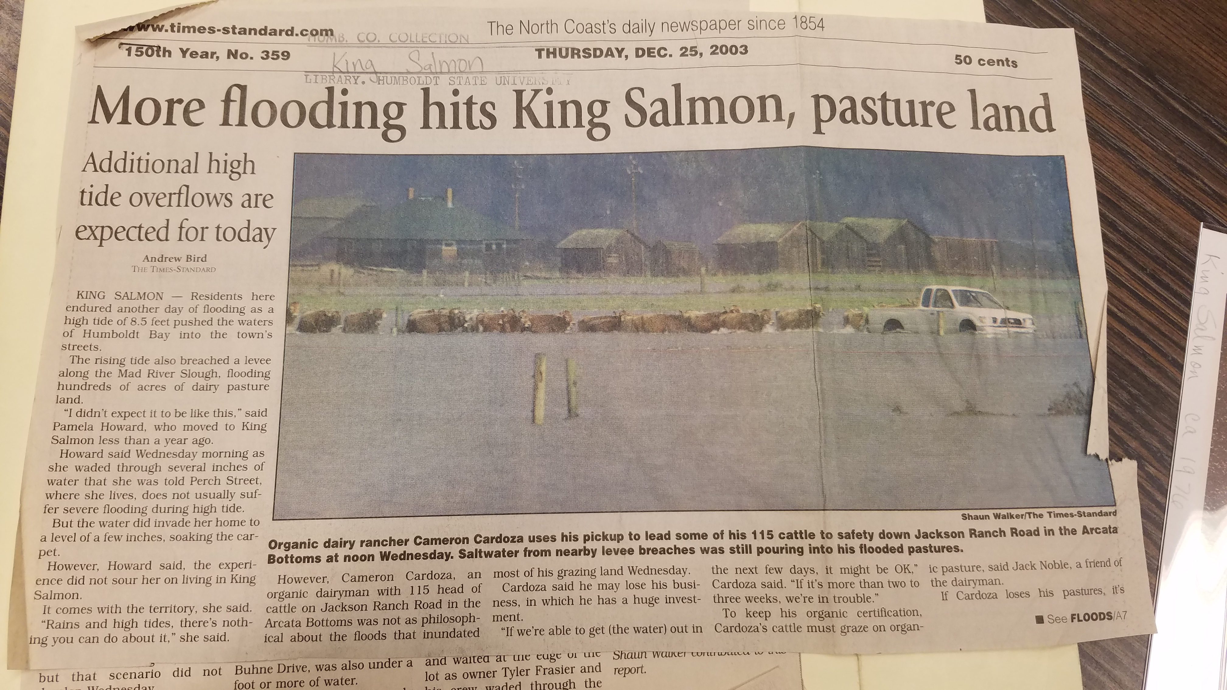 Old newspaper clipping about flooding in King Salmon