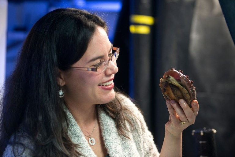 Kristin Aquilino with a white abalone at UC Davis Bodega Marine Laboratory in 2017. Photo: Gregory Urquiaga/UC Davis