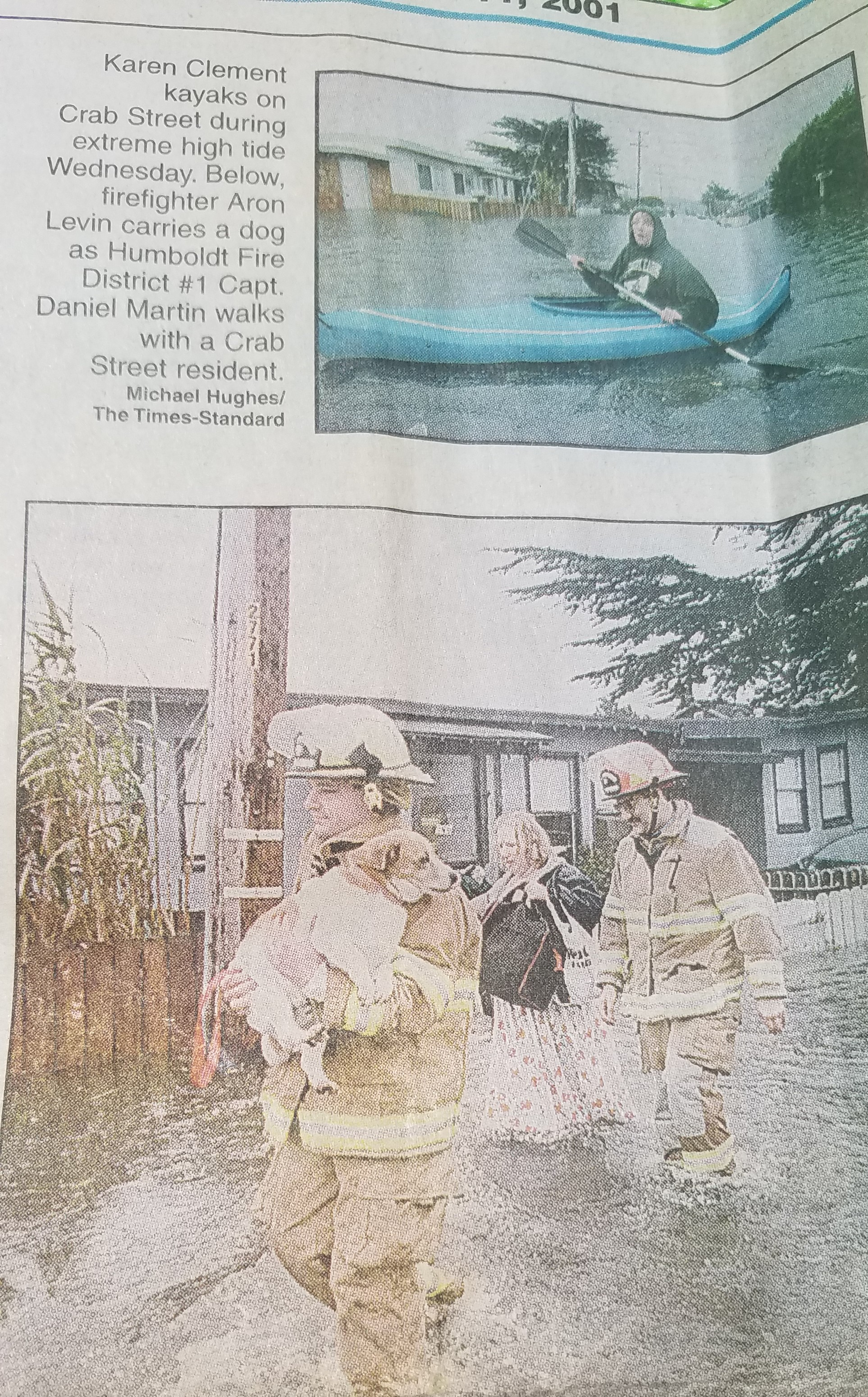 Old newspaper clipping showing flooding in King Salmon