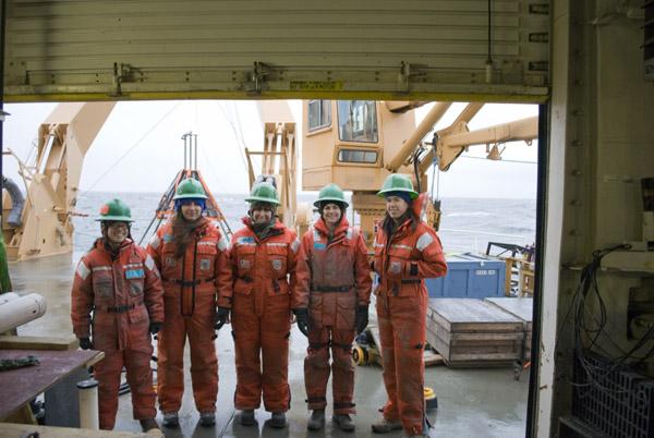 Shannon Klotsko with the CHIRP ladies - subbottom profiler oceanographic cruise.