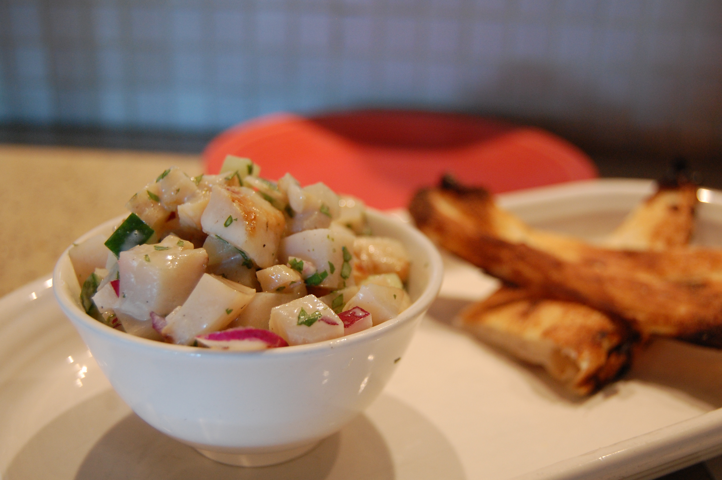 ceviche with bread