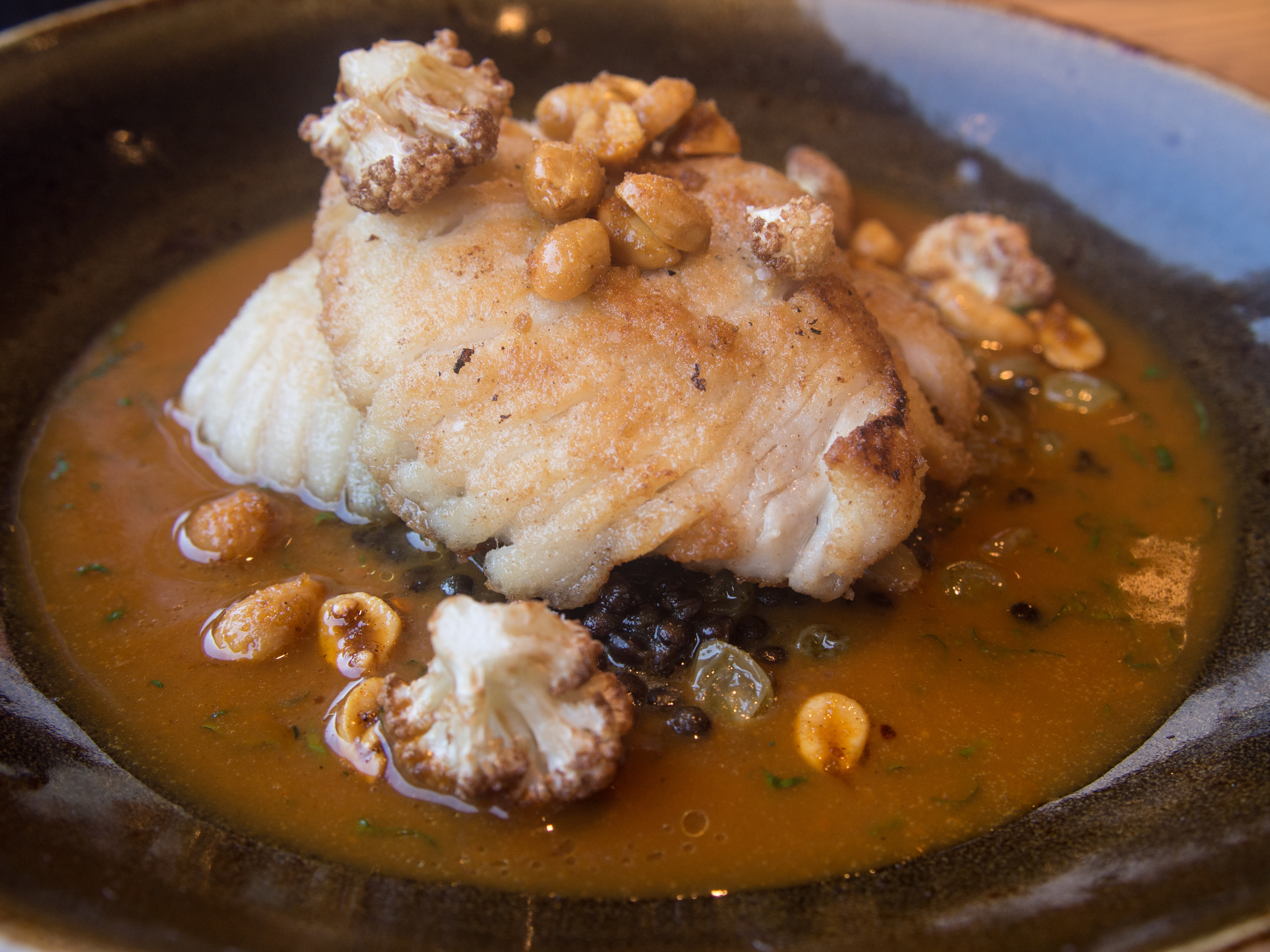 skate wing with lentils, cauliflower, peanuts, and curry