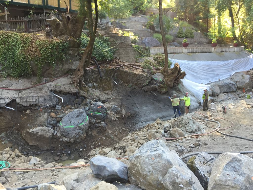 Restoration staff install shotcrete to the main channel of the Mill Creek fish bypass project in August 2016. Photo credit: Prunuske Chatham, Inc