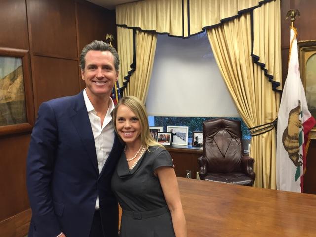 Lt. Governor Gavin Newsom and CA Sea Grant State Fellow Alicia Amerson