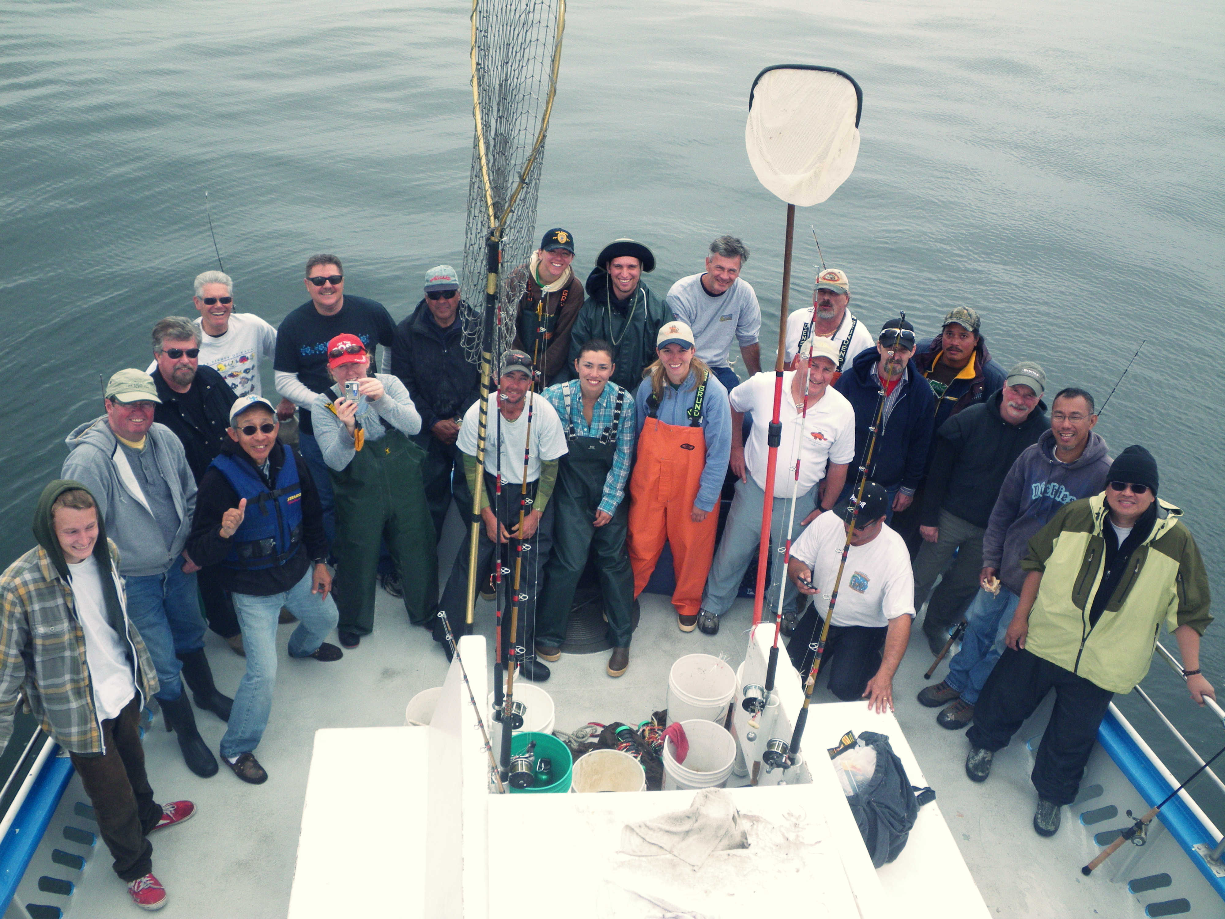 Science crew and volunteer anglers at the beginning of a sampling trip.