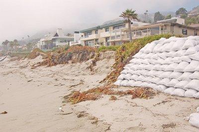 Sandbags at Broad Beach in Malibu, CA. Credit: MSN Photos/Hans Laetz