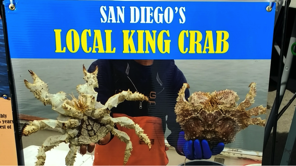 """picture of fisherman holding box crabs under banner that reads """"San Diego's Local King Crab"""""""