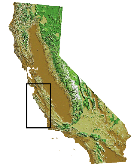 map of california with box around central coast region