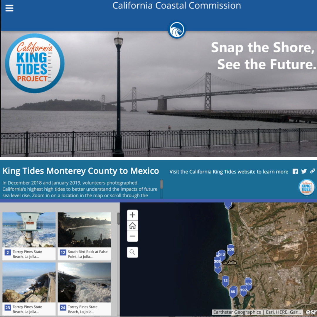 California King Tides Project screenshot of mapped photos