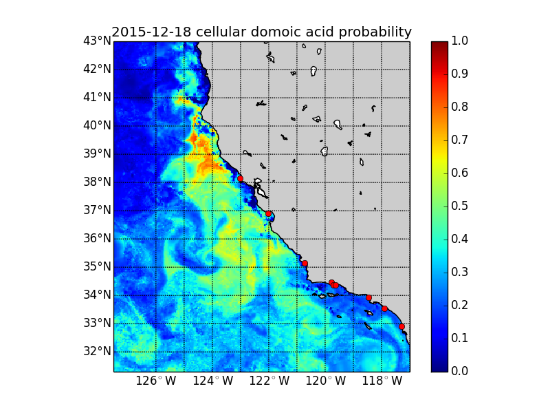 The map image displays the probability that the domoic acid concentration per Pseudo-nitzschia (i.e. how toxic are the algal cells themselves) is at or above 10 picograms per cell (pg/cell). - See more at: http://www.cencoos.org/data/models/habs/forecast#sthash.KTZx3AhY.dpuf