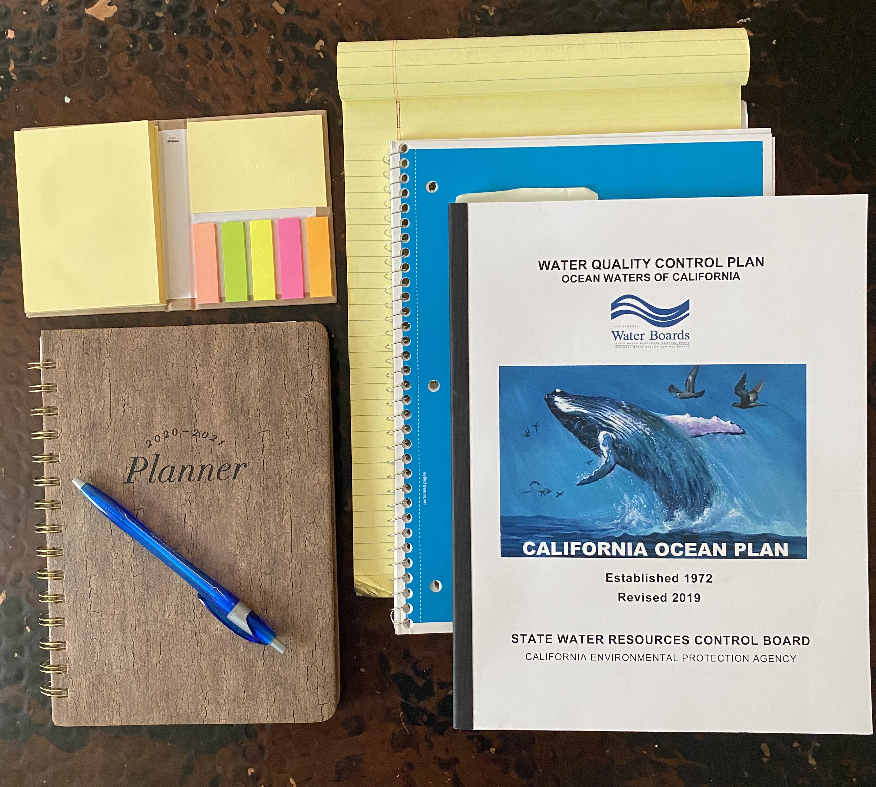 Notebooks, planners, and post-it notes