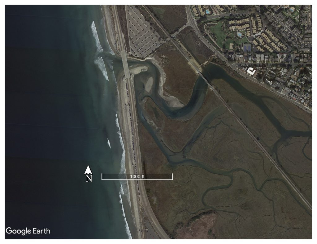 Aerial photo of Los Peñasquitos Estuary in San Diego County, an intermittently closed estuary system. Photo from Google Earth.
