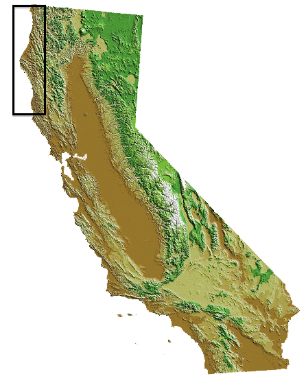 map of california with north coast region highlighted