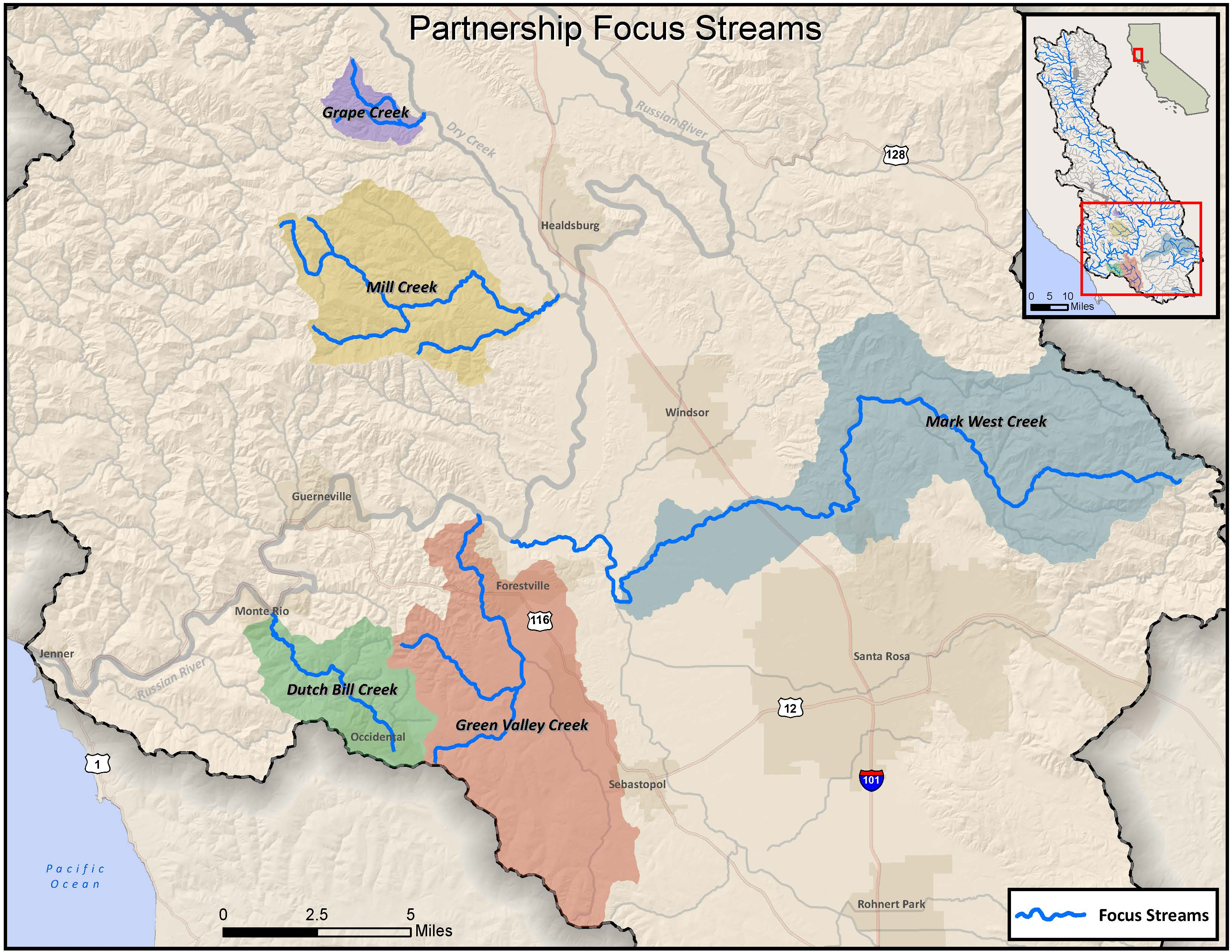 Coho Partnership focus streams in the lower Russian River Watershed.