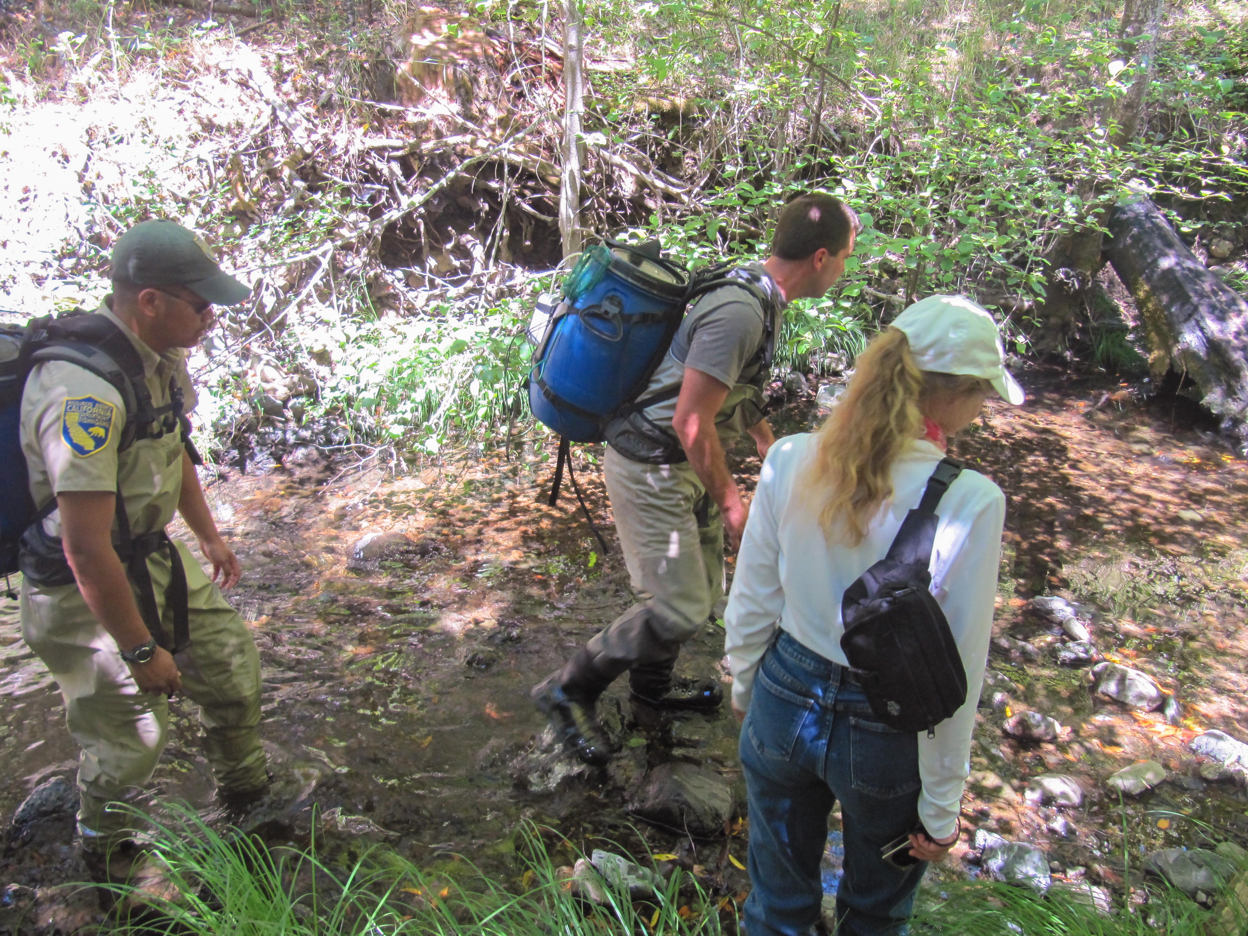 Landowner Nancy Summers with members of the broodstock team
