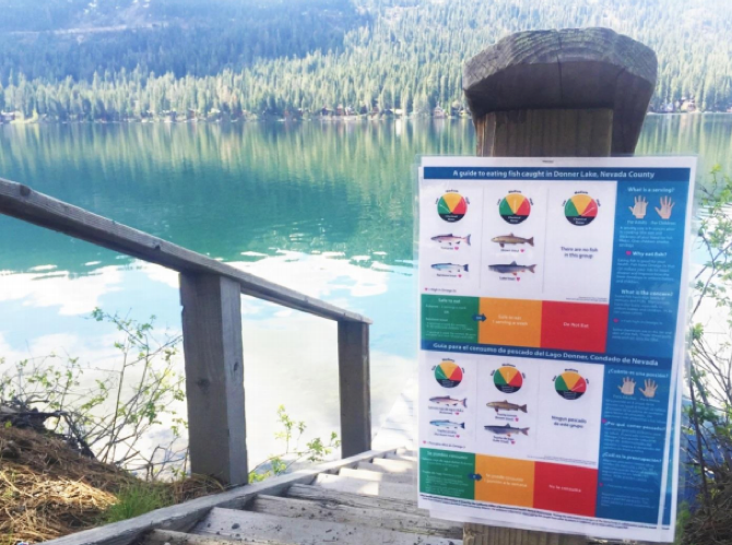 A sign listing fish advisories next to a lake