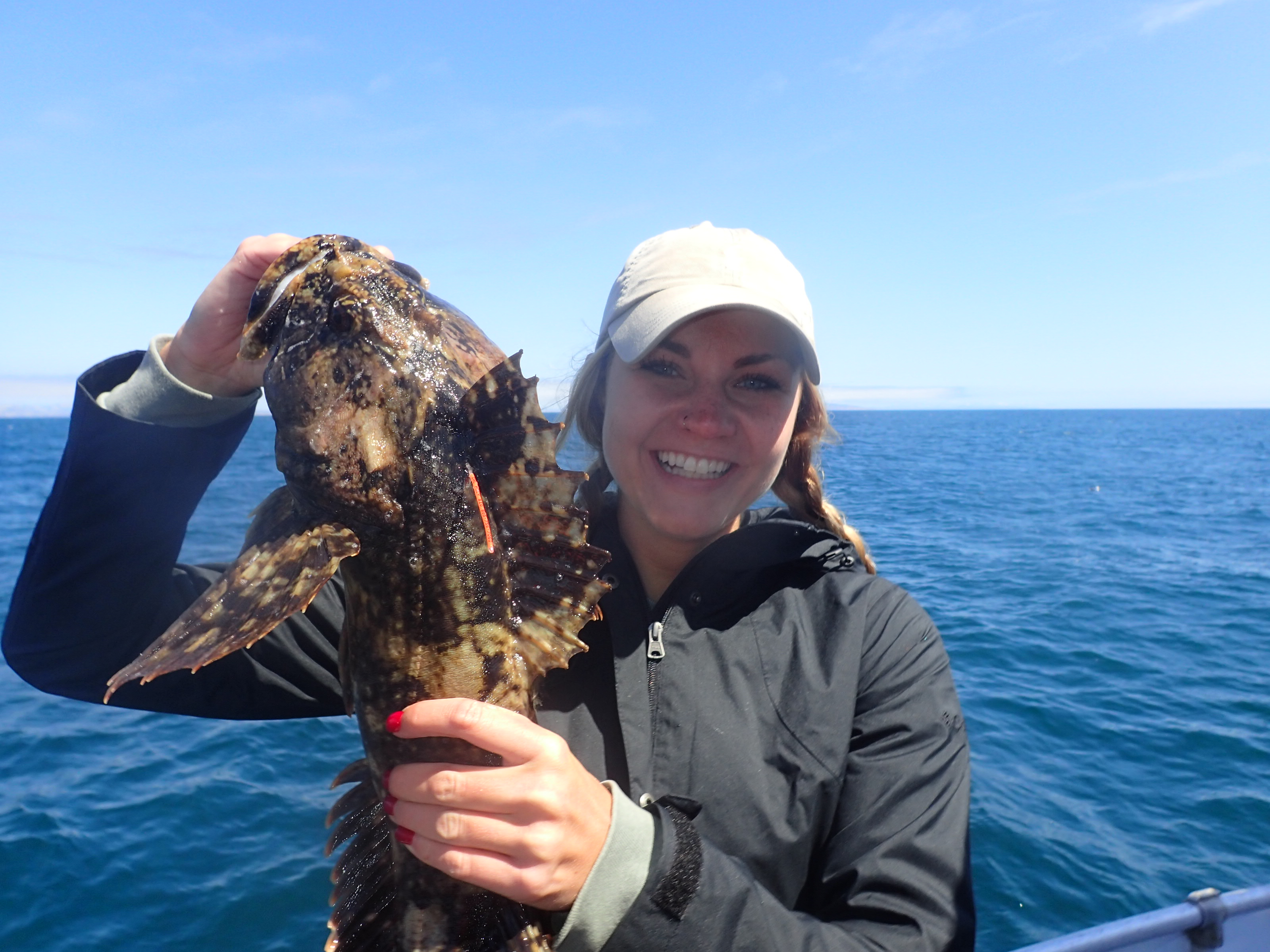 Student Lizzie Deluca excited to be measuring a gopher rockfish. Photo credit: Jennifer O'Leary