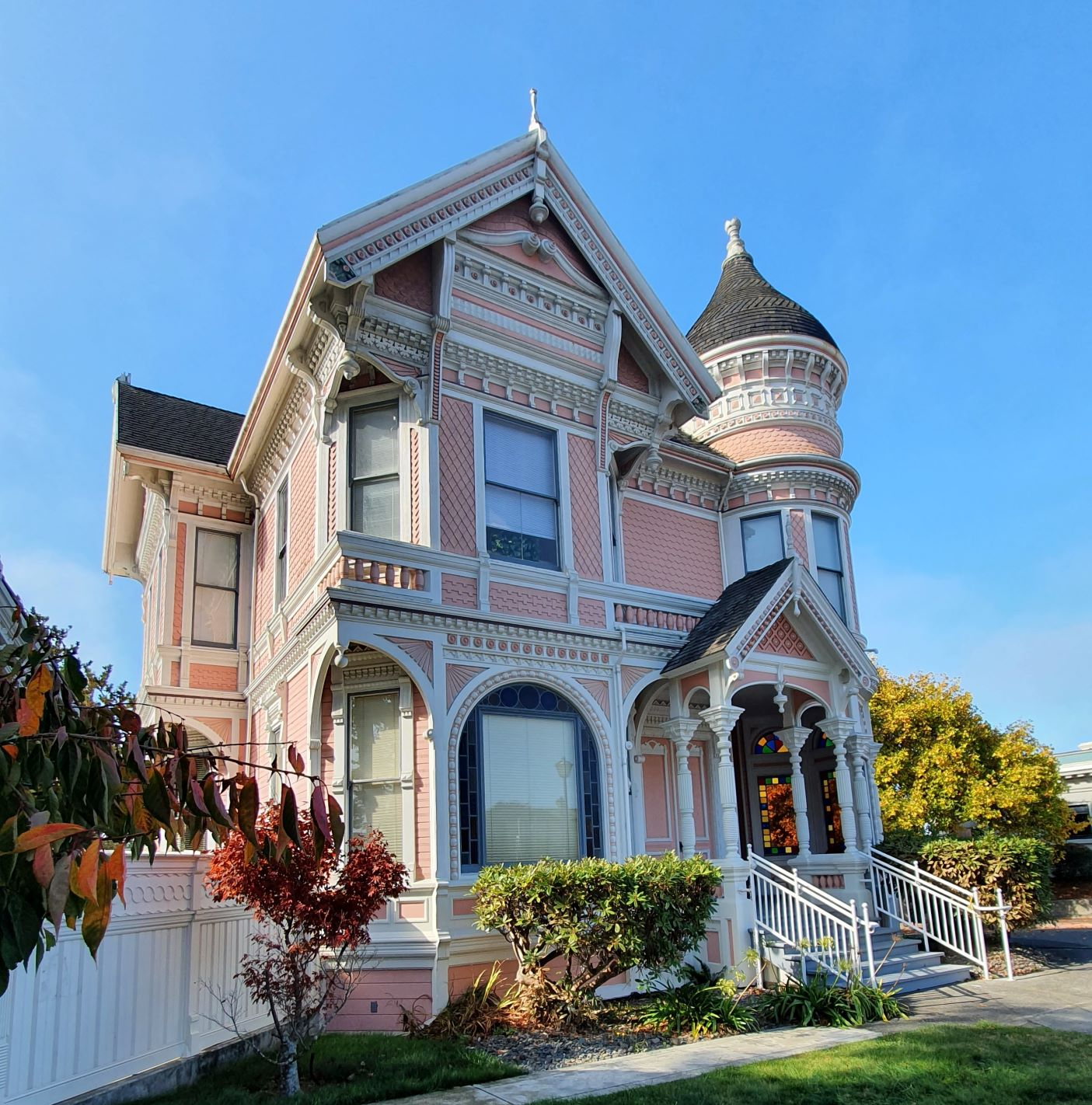 A pink Victorian style manor