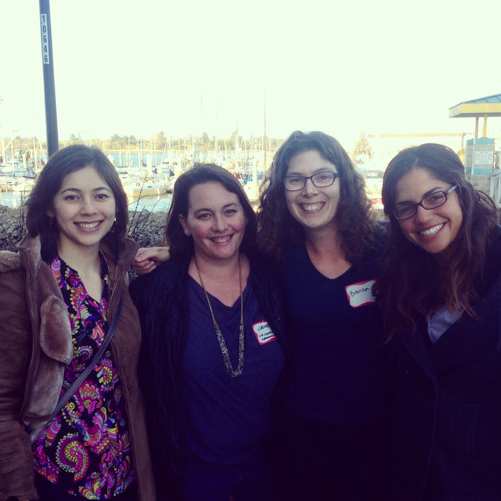 2015 CASG State Fellows Nicole Russell, Lauren Garske, Brenna Rudd, and Elena Perez in Humboldt Bay after the workshop.