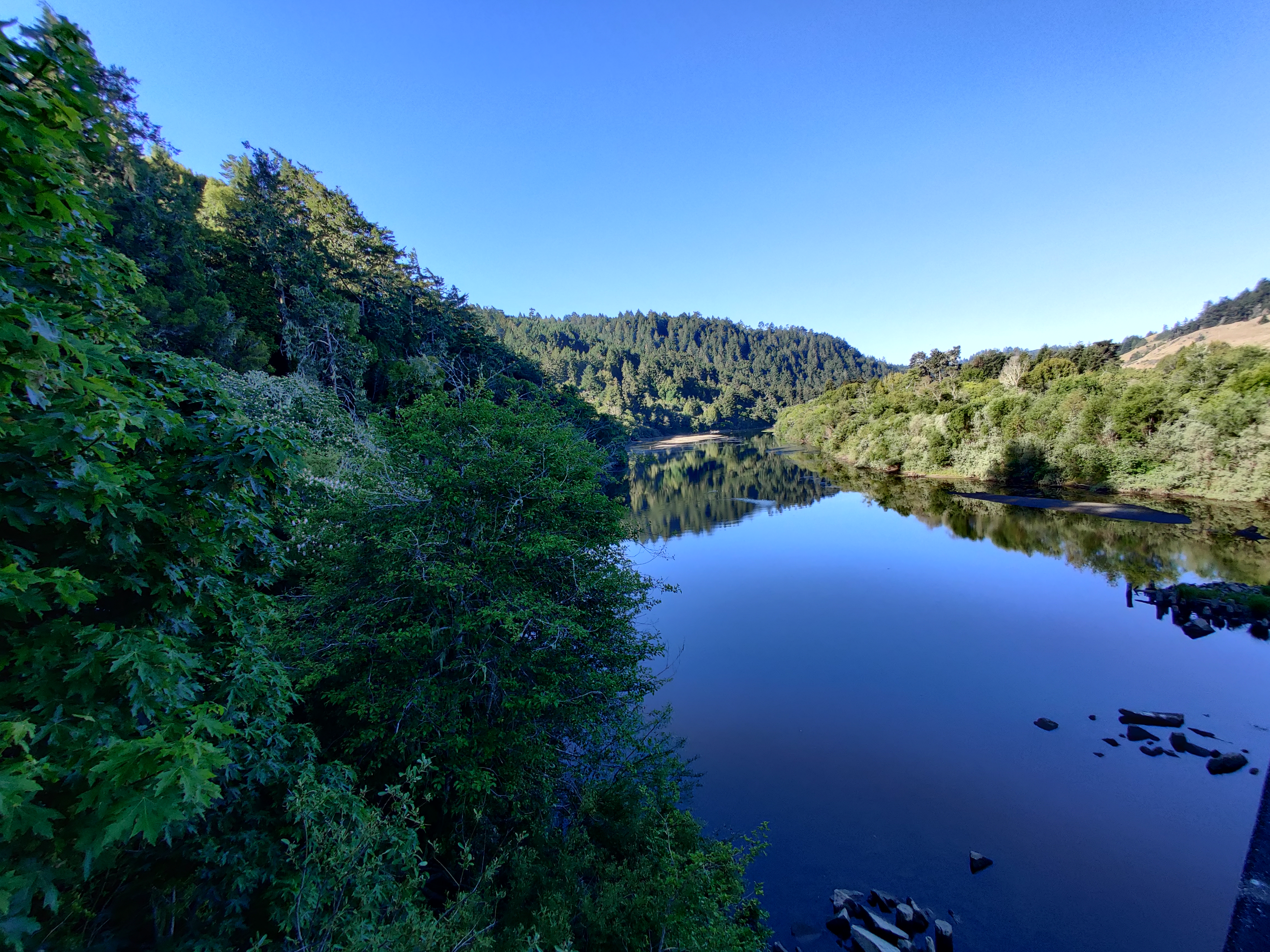 Low water flow during the spring in the Russian River.
