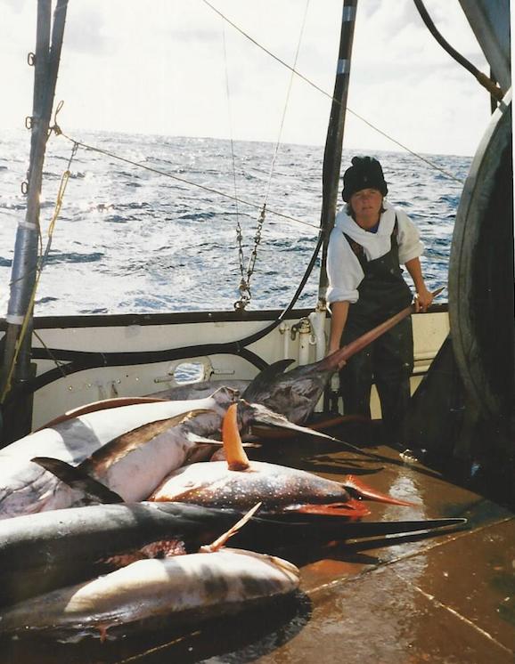 Trudy O'Brien with swordfish caught off the coast of San Luis Obispo. Photo courtesy Jeremiah O'Brien