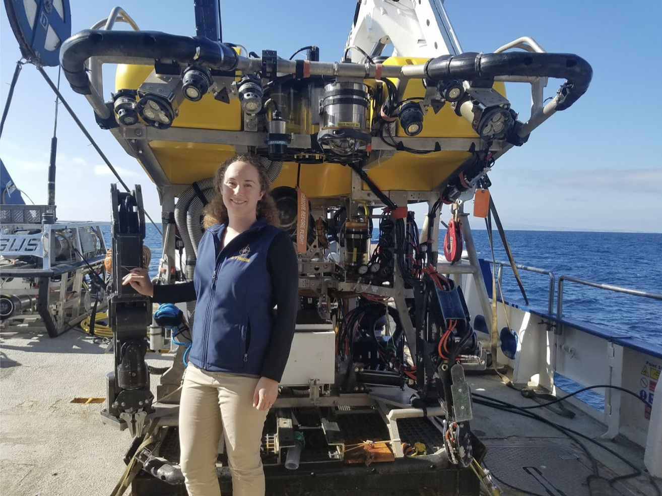Me, during my professional internship with NOAA National Marine Sanctuaries. I am on-board the E/V Nautilus and standing in front of the ROV Hercules, which we used to explore the Channel Islands National Marine Sanctuary.