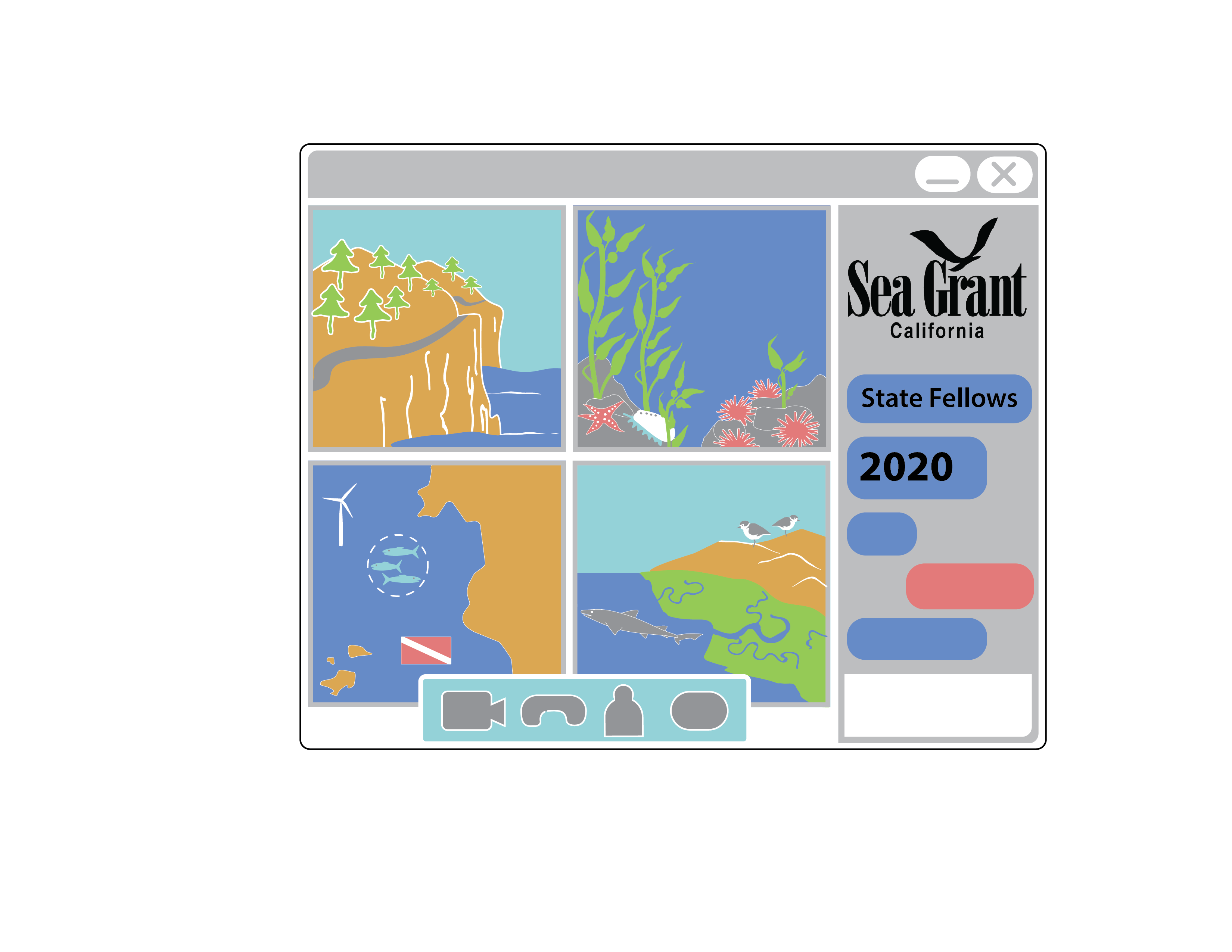 Graphic image of a zoom screen, with representations of coastal images in each window