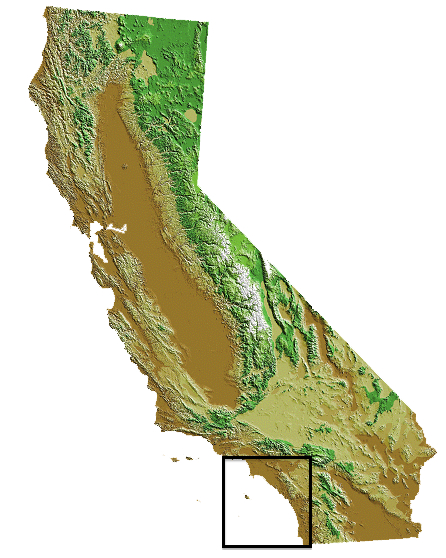 map of california with southern coast region highlighted