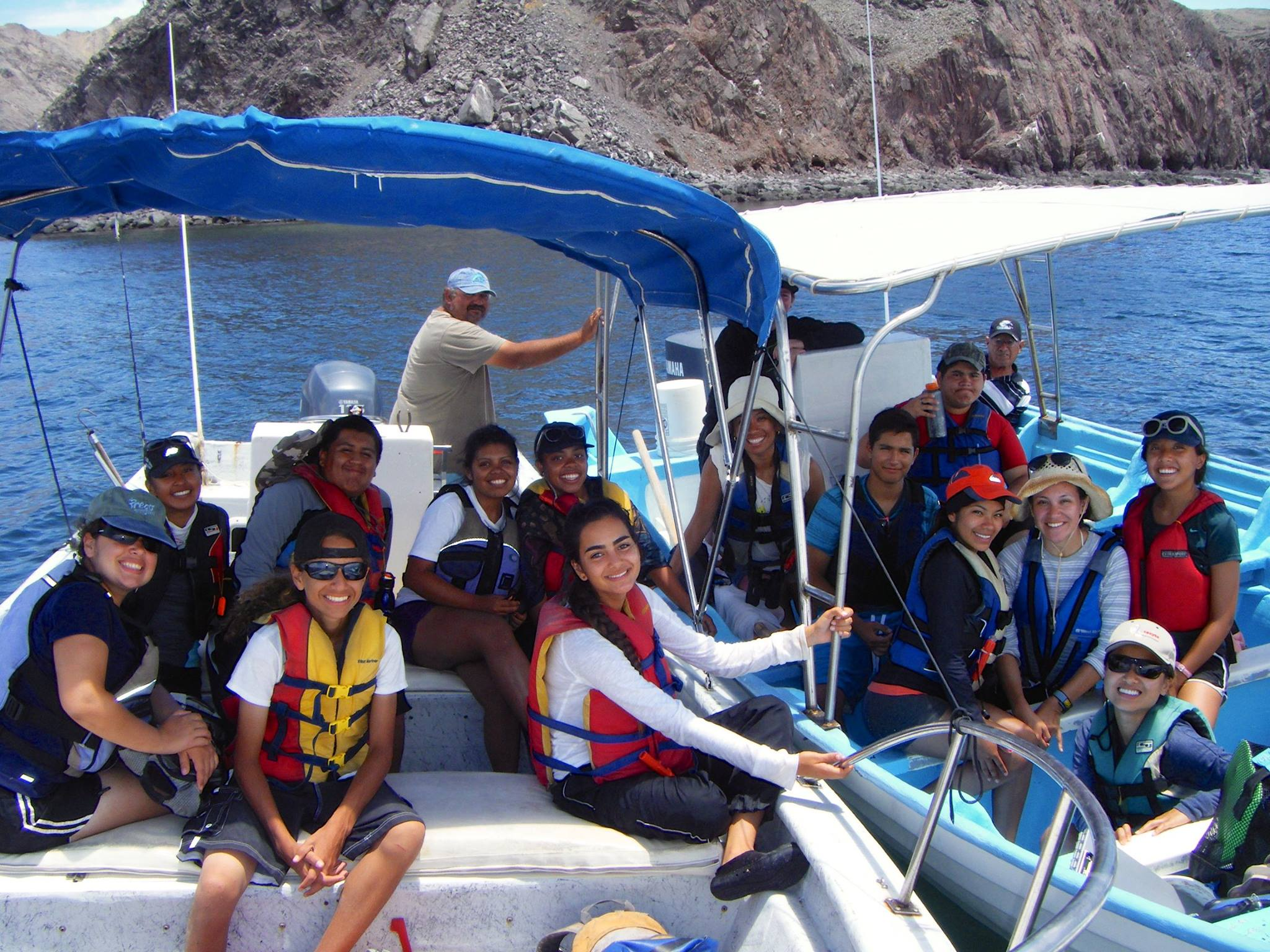 A photo of a group of City Heights youth doing research in Bahia de los Angeles as part of Ocean Discovery's Bahia program.