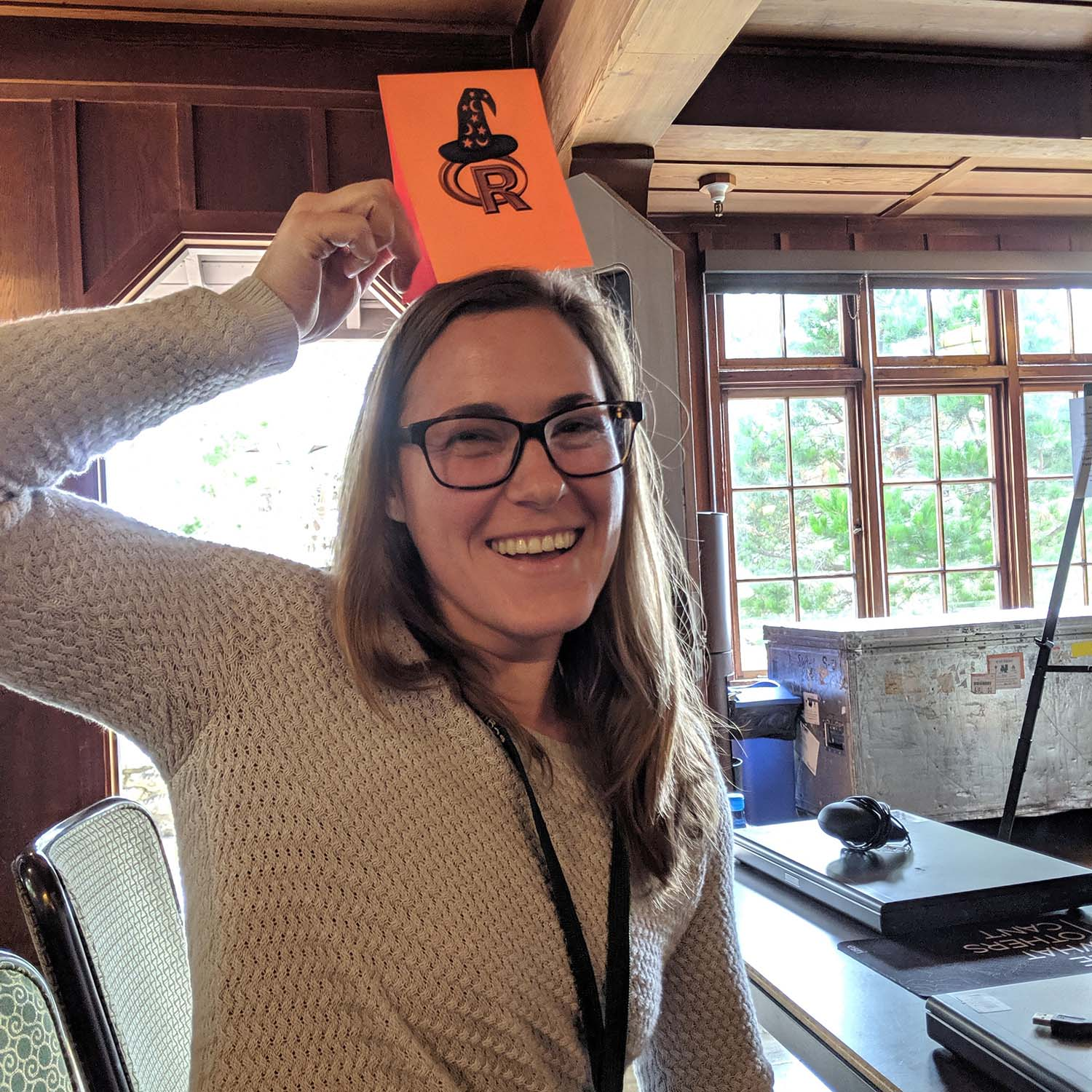 "Tracy with her R wizard hat on at the ""Spatial Data Analysis with R"" workshop during the Society for Conservation GIS conference."