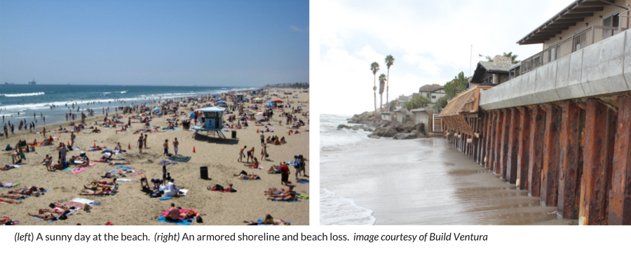 Image of 1) a sunny beach day and 2) an armored shoreline in Ventura