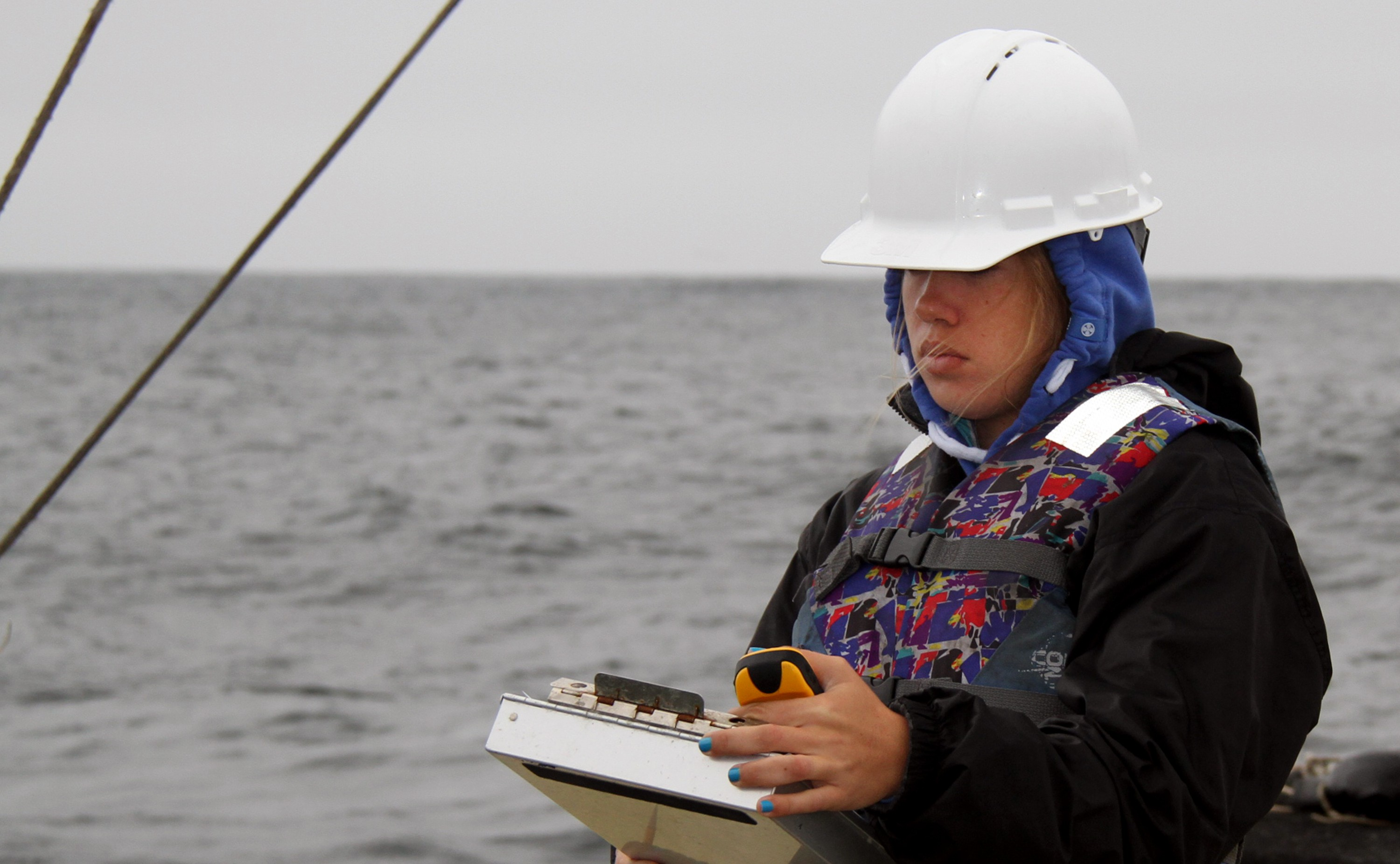 Moss Landing Marine Laboratories graduate student, Anne Tagini, recording data while the video lander collects imagery just below.