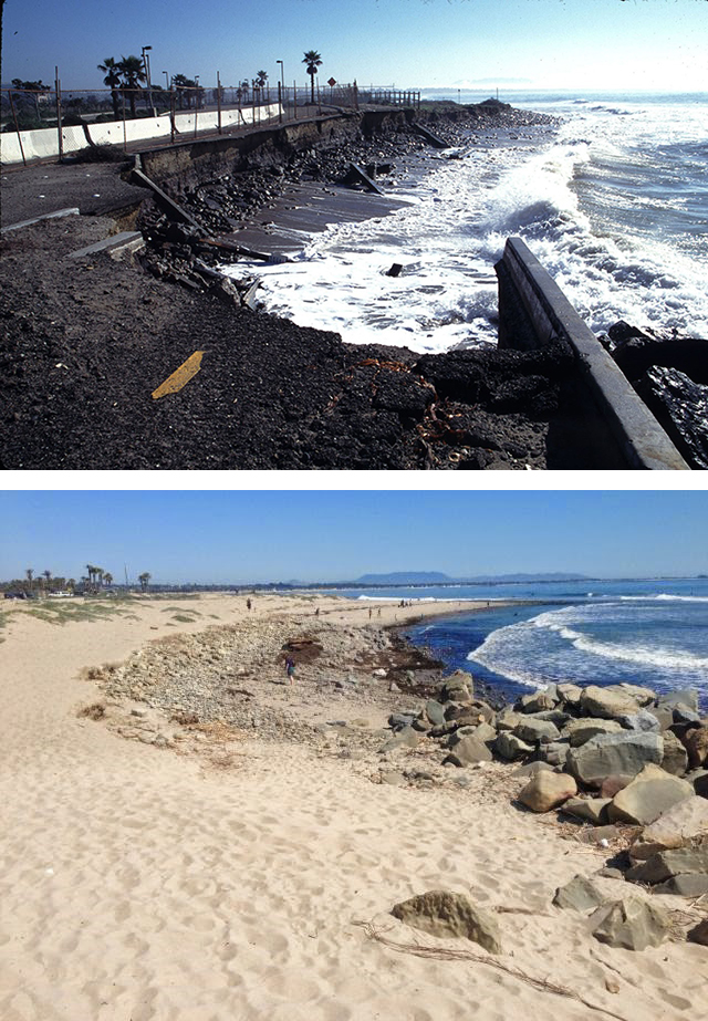 Before and after the project at Surfers' Point. Photo Credit: Paul Jenkin