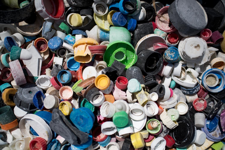 discarded plastic bottle caps