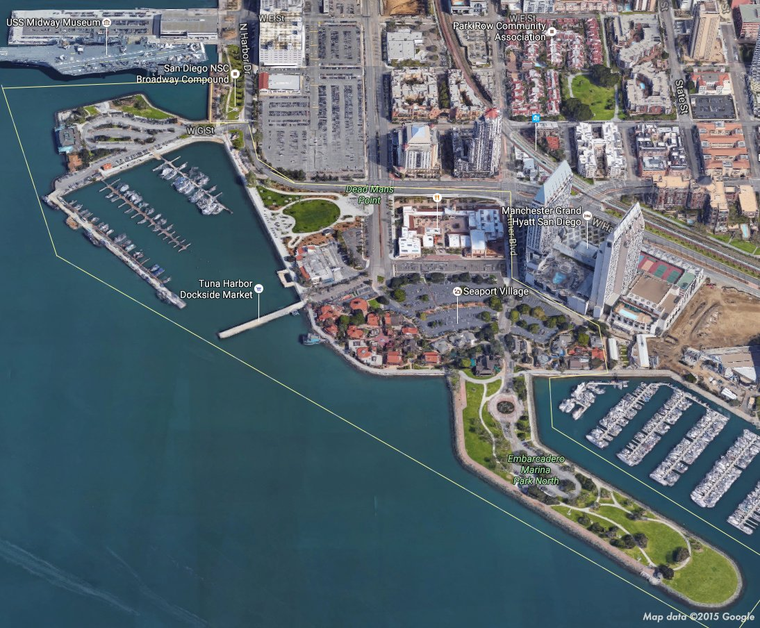 The Port of San Diego plans to redevelop the area outlined in yellow.