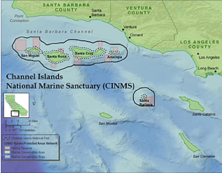 The Channel Islands National Marine Sanctuary is located off the coast of Santa Barbara and Ventura counties in California and encompasses 1,110 square nautical miles (1,470 square miles) of water from mean high tide to six nautical miles offshore of Santa Barbara, Anacapa, Santa Cruz, Santa Rosa, and San Miguel islands