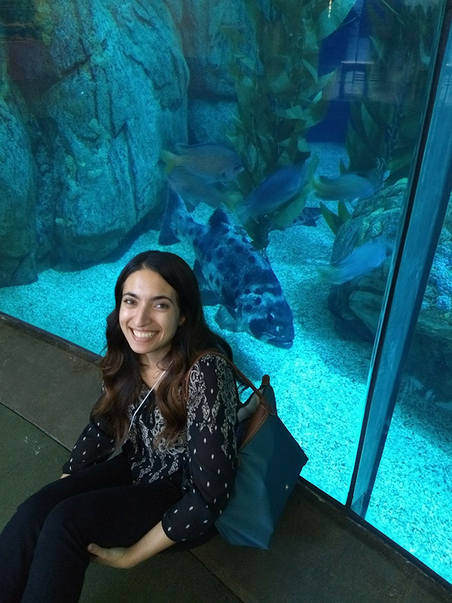 California Sea Grant State Fellow Stephanie Gad at the Aquarium of the Pacific.
