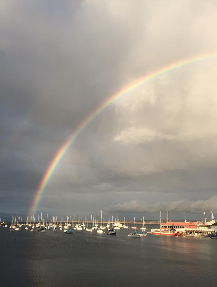 A rainbow over monterey bay