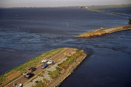 The unexplained failure of the Jones Tract levee in June 2004 exposed the vulnerability of delta levees. Credit: California Department of Water Resources