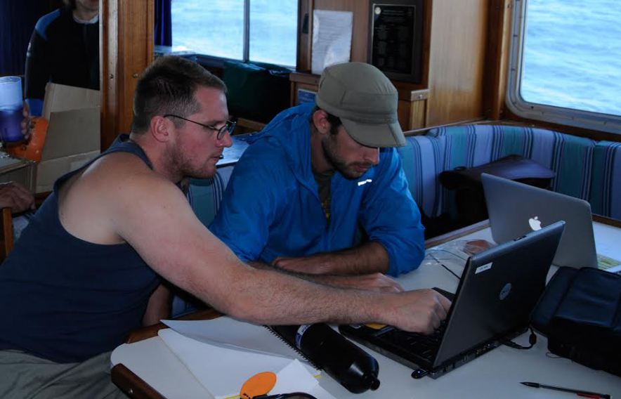 California Sea Grant State Fellow Ryan Freedman (left) learned to mentor another young scientist, Andrew Brinkman, during his fellowship at the Channel Islands National Marine Sanctuary, Research Program.