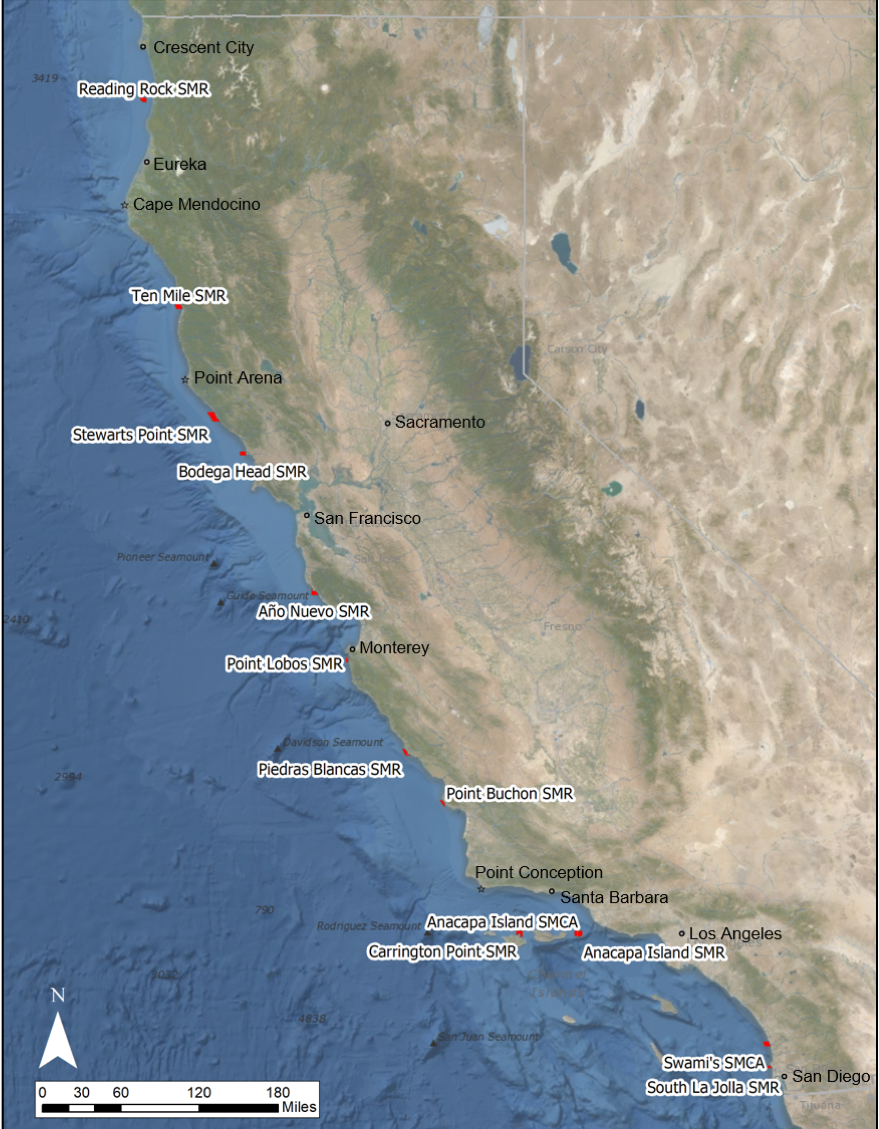 map of california with monitoring sites listed