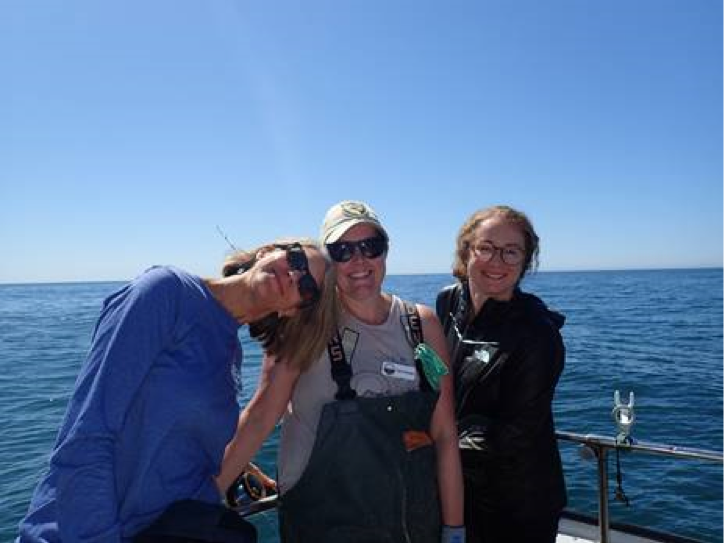 Me, Acting Deputy Director Susan Ashcraft, and former Sea Grant State Fellow Sara Worden – now an Environmental Scientist with California Department of Fish and Wildlife – during a California Collaborative Fisheries Research Program trip.