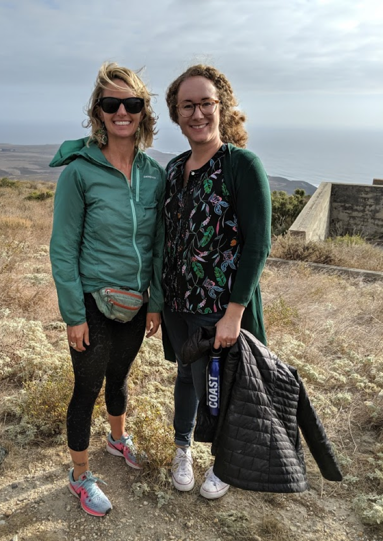 Me with Commissioner Samantha Murray, with Point Conception in the background, on a training about climate and California's fisheries.