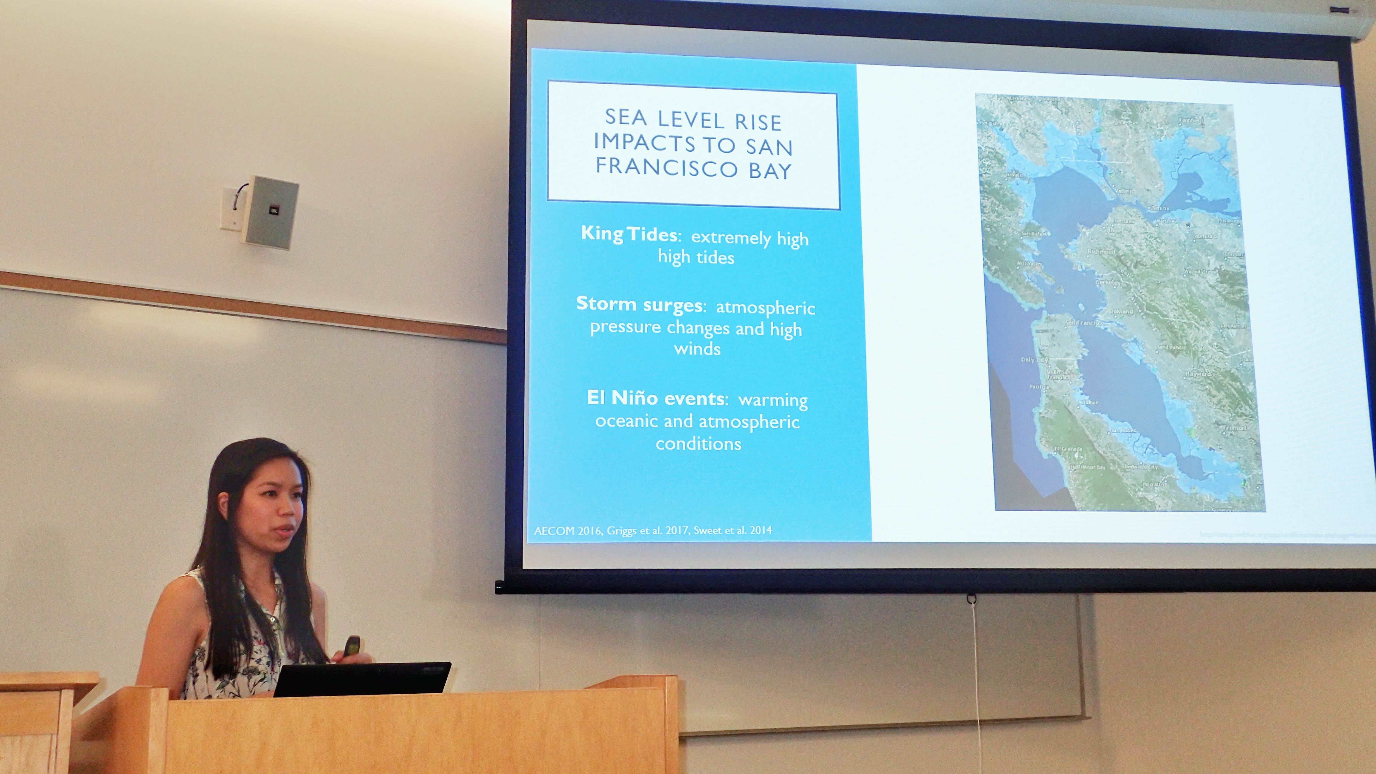 Presenting on my Master's Project during grad school that analyzed sea level rise adaptation strategies for the San Francisco Bay. Photo credit: Gretchen Coffman