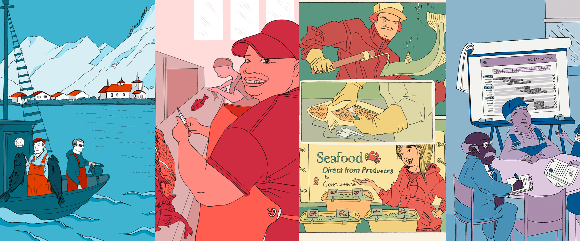 illustrations of fishing industry, colorful and international