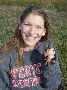 Rachel Wigginton holds a Suisun song sparrow at Rush Ranch Open Space in Suisun City. Credit: H. Spautz