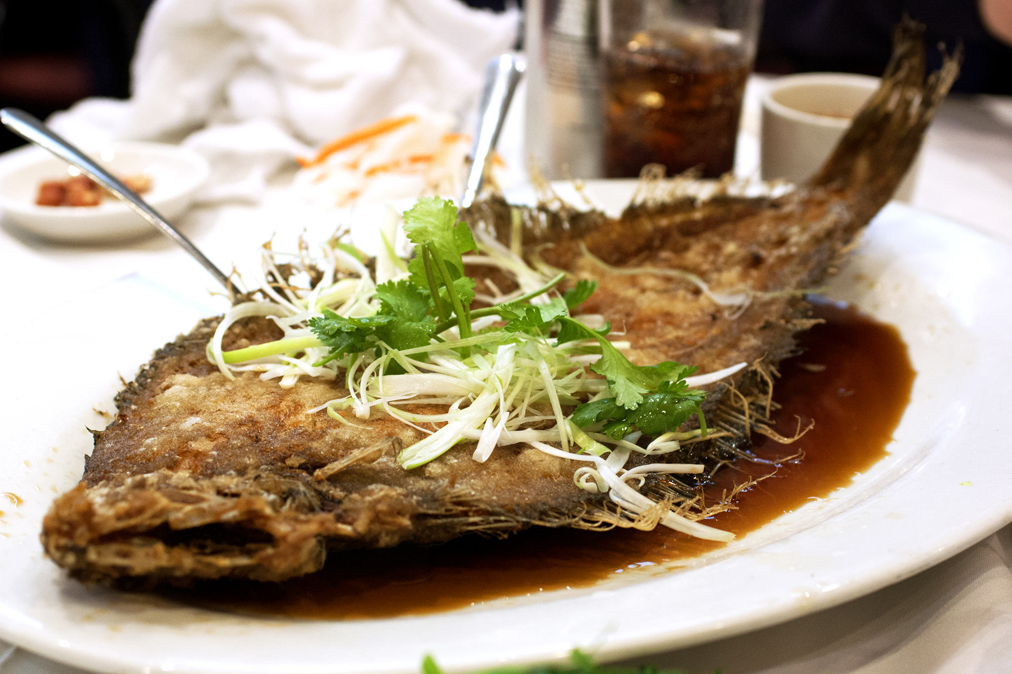 fried flounder with scallion and cilantro garnish and soy sauce