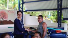 Ceremony to establish a new recycling program in Acajutla, El Salvador.